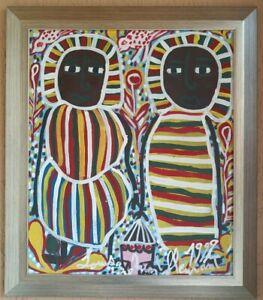 ORIGINAL VINTAGE FOLK HAITIAN ART NAIF PAINTING LOUISIANE SAINT FLEURANT HAITI