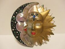 """STAR & MOON DOUBLE FACED CERAMIC WALL HANGING 6 1/2"""" BY 61/2"""" MADE IN ITALY"""