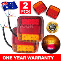 Pair 12V LED Square Tail Light Trailer Truck Boat Number Taillight Marine Lights