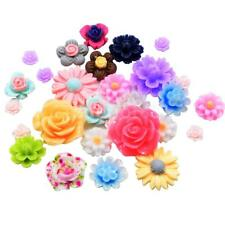 50x Colorful Assorted Rose Flower Flat Back Cabochons Craft Decoden Kawaii