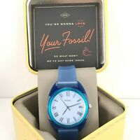 FOSSIL ES4859 Jude Three-Hand Cobalt Blue Silicone Band 38mm Watch NEW BOX $119