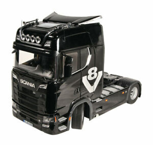 NZG Scania V8 730S 4x2 towing vehicle Black with acessories set 1/18 Scale New!