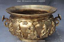 "9"" mark china brass 5 wealth god Peach Ruyi Bat Fish money incense burner Censer"
