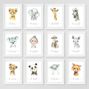 Safari Baby Animal Nursery Prints Set Childrens Bedroom Decor Wall Art Pictures
