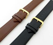 Classic Buffalo Grain Stitched Edges Genuine Leather Strap with Gold Buckle