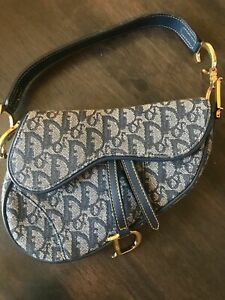 Original Dior Mini Saddle Bag Denim Blue