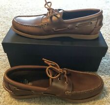 Brooks Brothers Men's Brown Leather Boat Shoes Size 10.5 New In Box