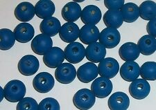 Wood beads, 8mm round dyed wooden beads for jewelry making -- Blue 100 pc
