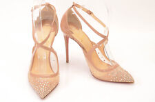 Christian Louboutin nude 7 37 patent leather mesh crystal pump shoe NEW $1245