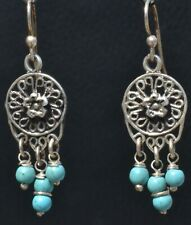 FRIDA KAHLO DESIGN TAXCO MEXICAN SILVER TURQUOISE BEAD EARRINGS MEXICO