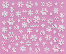 Christmas WHITE Snowflakes Glittery Xmas 3D Nail Art Sticker Decals UV SMY056