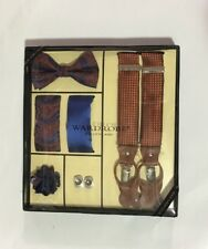 Men's Bowtie 2Hankies Suspender Cufflinks Lapel Pin Steven Land Wardrobe Set #1