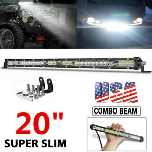 20inch Slim LED Light Bar Single Row Spot Flood Combo Work UTE Truck SUV ATV US