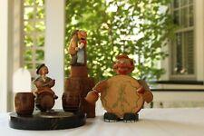 Vintage Anri Carved Wood Bottle Opener & Coasters; Wine Bottle Stopper: Ash Tray