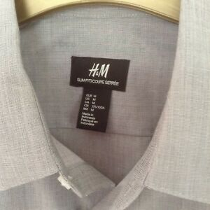 BNWoT H&M Men's Grey Slim Fit Easy Iron Long Sleeve Smart Occasion Shirt Size M