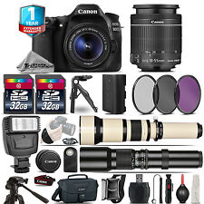 Canon EOS 80D DSLR Camera + 18-55mm IS + 650-1300mm + 500mm +1yr Warranty + 64GB