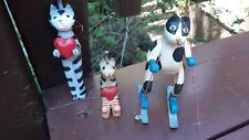 Lot of 3 Cats Christmas Ornaments Wood