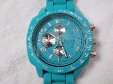 Geneva Platinum Tachymeter Watch Turquoise Aqua Silicone Band Japan Movement 9""