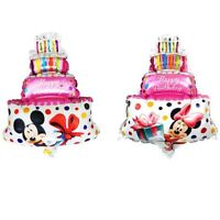 XXL Helium Foil Balloon Pink Birthday Pie Present Cake Mickey Minnie Mouse