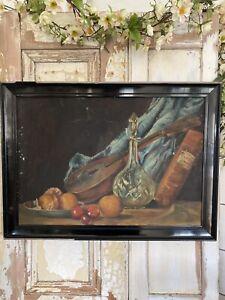 Old c1920/30s ART DECO STILL LIFE Vintage Painting ORIGINAL EBONISED FRAME
