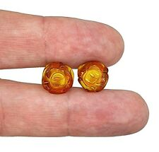 Baltic Amber Studs, Flower Studs, Amber Floral Earrings, ancient