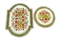 2 Vintage Large Group Muylle Tapestry Embroidery Doilies Belgium