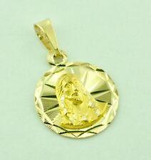 14k solid yellow gold Jesus  round pendant  #6227 1.20gr h3jewel kids child