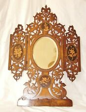 ANTIQUE SORRENTO WARE LADY'S VANITY MIRROR IN ORNATE INLAID OLIVE-WOOD FRAME