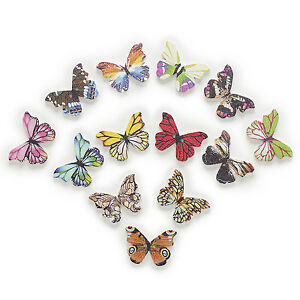 30pcs 2 Hole Mixed Butterfly Wood Buttons Decor Home Sewing Scrapbooking 28x21mm