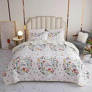 Kindred Home Kids 2 Piece Quilt Set Bedspread Cute Flower Super Soft Bedding Set