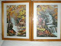 Vintage Set 2 PBN Paintings Oak Frames Deer and Waterfall Autumn