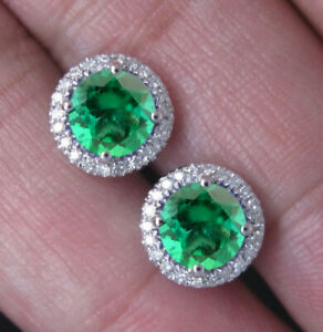 925 Silver & 100% Natural Zambian Emerald Round Shape 3.00 Carat Solitaire Studs