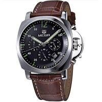 MEGIR 3006 / Japan Quartz Watch / Leather band / Date / Chronograph / GBN1