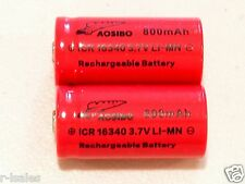 4 pc Aosibo ICR 16340  BATTERY CR123A 3.7v  Li-Mn 800mAh  HIGH DRAIN BUTTON TOPS