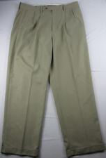 ALAN FLUSSER Khaki Mens Golf Pants Sz 38 x 30 Pleated Golf Dress Slacks