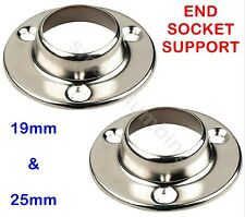 Round Chrome Wardrobe Rail Fitting Rod End Support Socket Ring 19mm 25mm PAIR