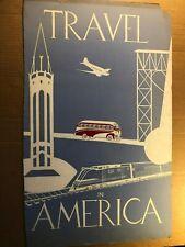 Rare Original Travel Poster Illustration Art Painting 50s Planes Trains & Buses