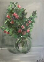 Print of Original oil painting art Vase of blossom  impressionism shabby chic