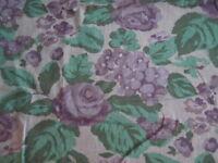 2 1/2 Yds Blue Green Purple Floral Print Blend NEW
