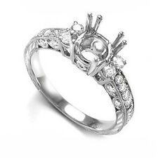 Pave / Prong Diamond Mounting Engagement Ring in 950 Platinum size 4 to 9.R1151.