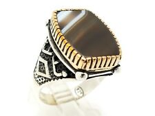 HANDMADE 925 STERLING SILVER BRONZE BROWN AGATE MEN'S TURKISH RING SIZE 11.25