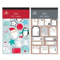 100 Christmas Gift Tag Labels - 2 Designs Cute Designs & Contemporary Designs Xm