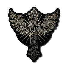 Embroidered Christian Cross with Wings Sew or Iron on Patch Biker Patch