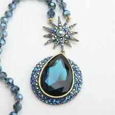 Heidi Daus Twilight Beaded Drop Necklace Blue