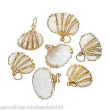 Shell Charm Pendants Fan Shape Natural Gold Plated 5 PCs DIY Jewellery Crafts
