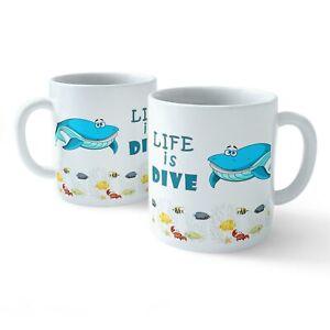 Scuba Divers Gift Idea Life is DIVE Tea Cup Drink Gifts Funny Mugs Novelty Mug