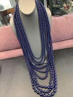 10 strand extra long navy blue sweater waterfall style beaded necklace 48""