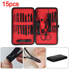 15pcs Professional Manicure Pedicure Grooming Nail Kit Stainless Steel Set UK
