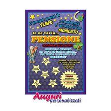 Cartolina auguri pensione IDEA REGALO BIGLIETTO BIGLIETTINO