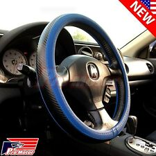 Blue Black Carbon Fiber Style Leather Steering Wheel Cover Reflection Slip-On P1